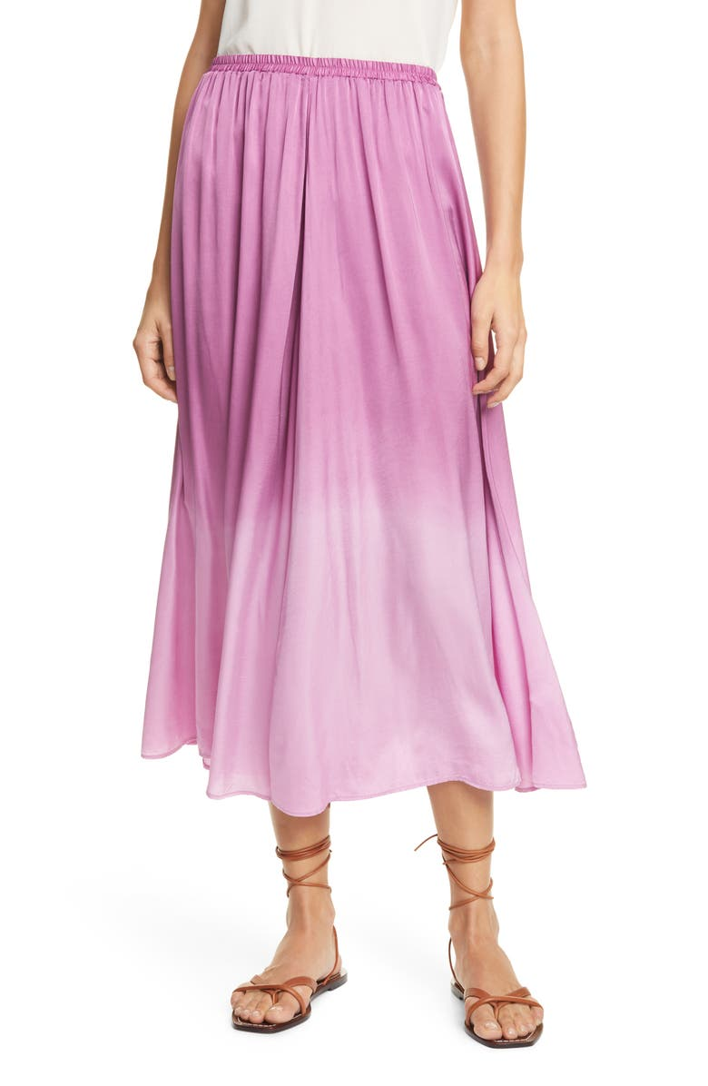 FORTE_FORTE Dip Dye Satin Midi Skirt, Main, color, MAGENTA
