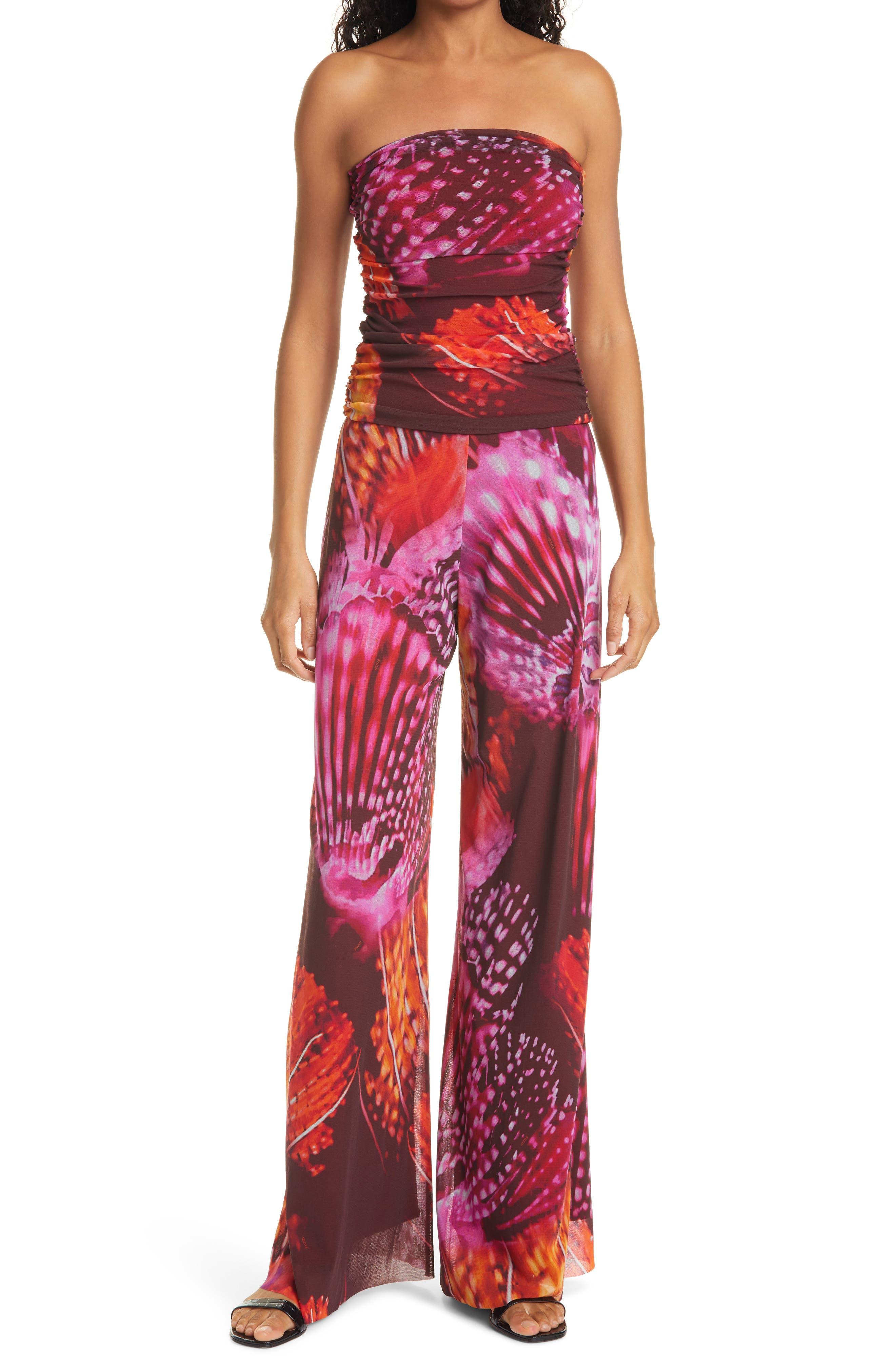 Floral Print Strapless Jumpsuit