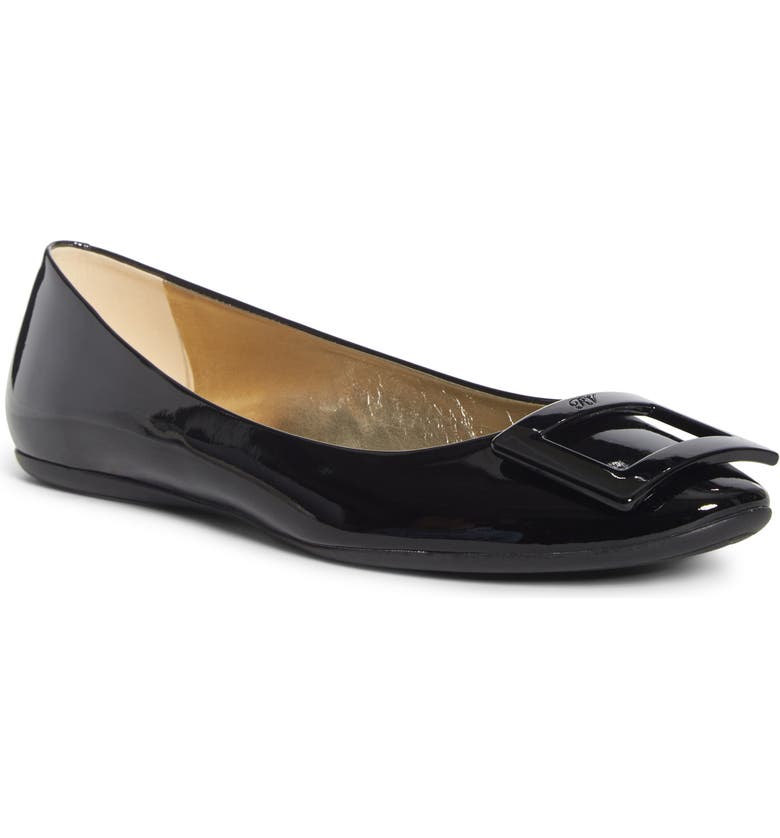 ROGER VIVIER Gommette Buckle Ballet Flat, Main, color, BLACK