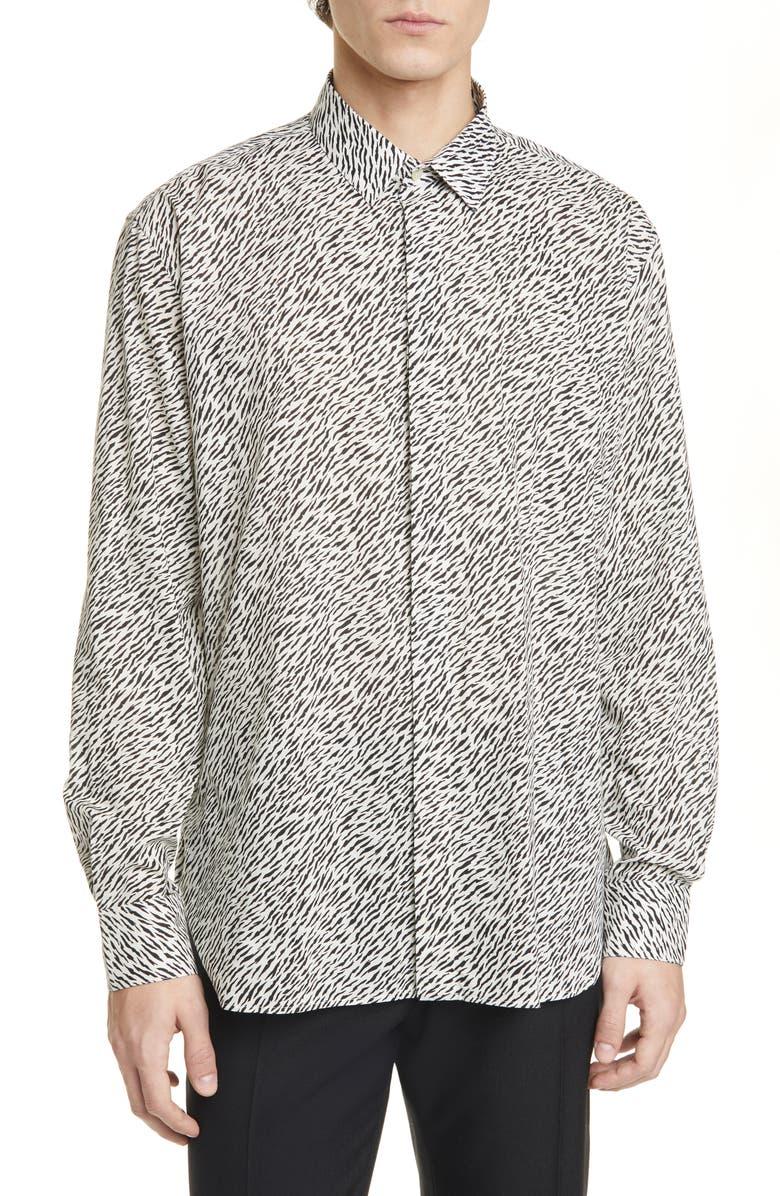 SAINT LAURENT Tiger Print Button-Up Shirt, Main, color, BLACK