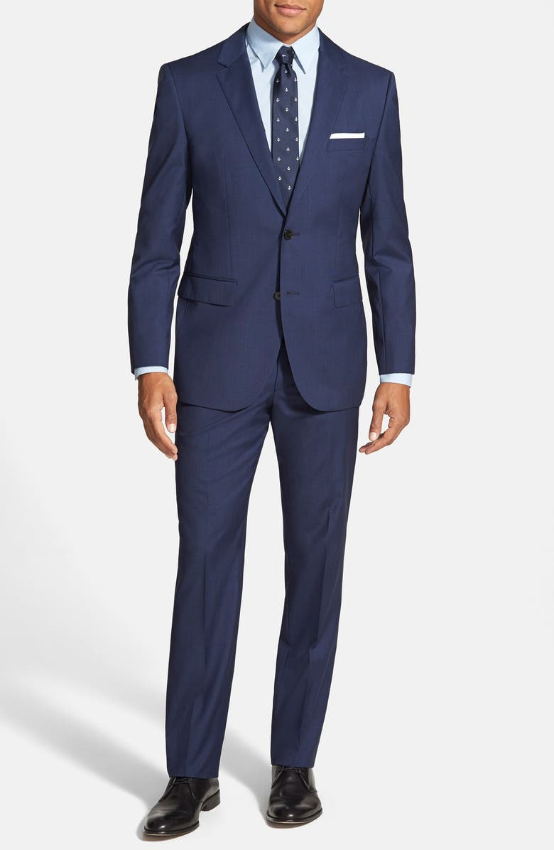 ZZDNUHUGO BOSS BOSS Trim Fit Solid Wool Suit, Main, color, 410