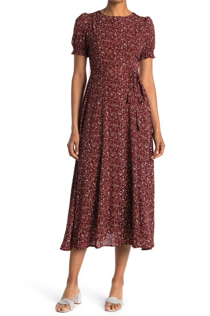 Image of SEE THE SHADES Puff Sleeve Tie Waist Floral Midi Dress