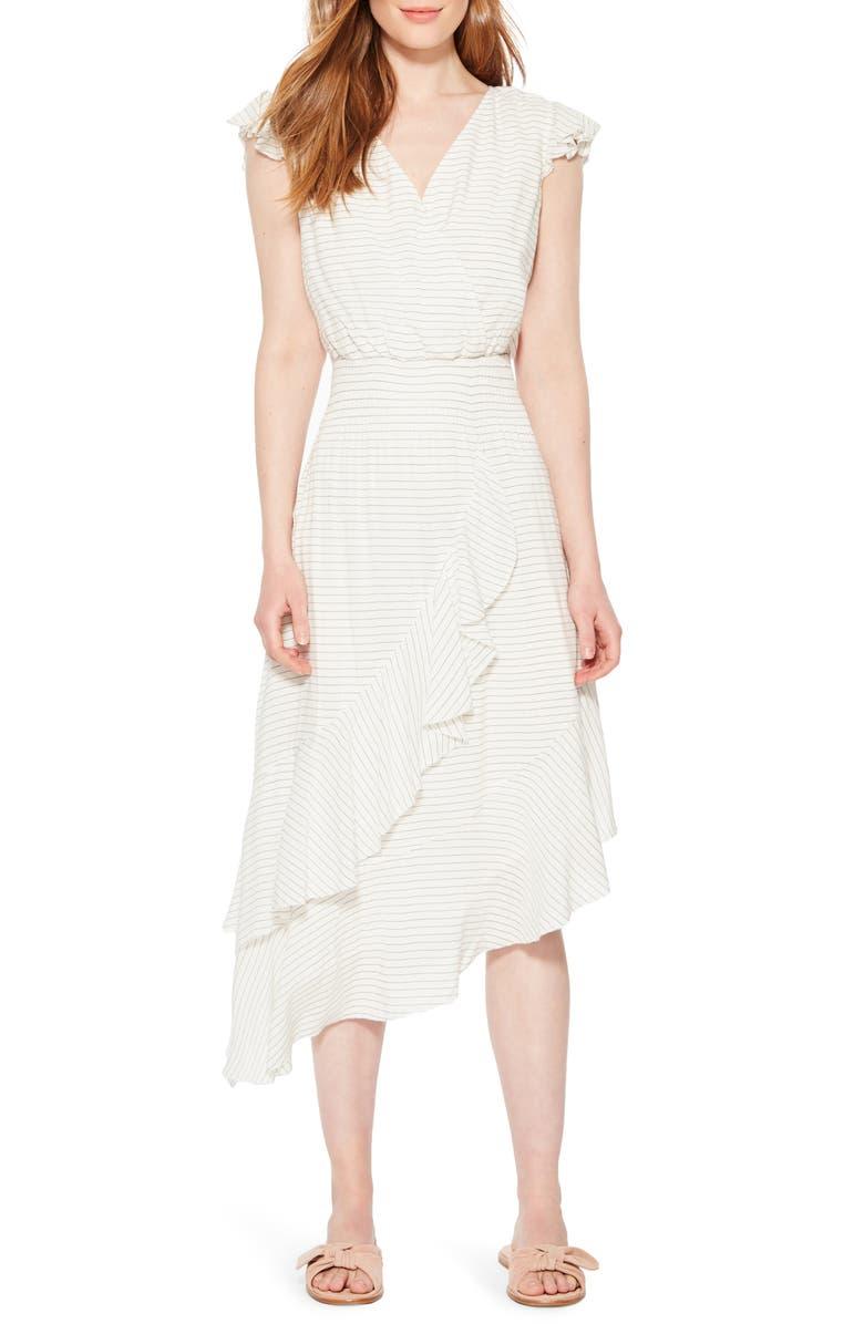 PARKER Jannie Stripe Asymmetrical Hem Dress, Main, color, 001