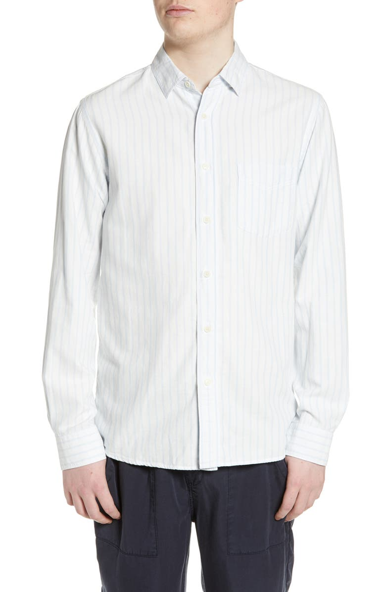 WAX LONDON Basset Slim Fit Stripe Shirt, Main, color, WHITE/ BLUE VERTICAL STRIPE