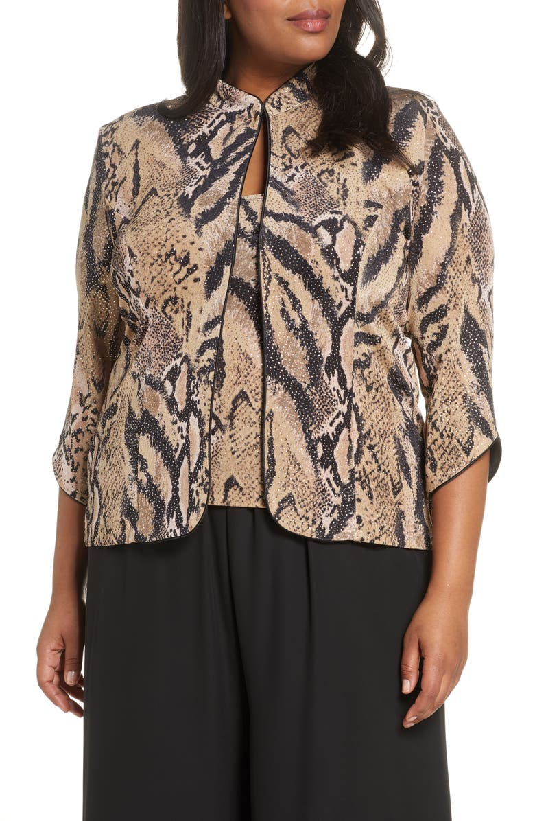 ALEX EVENINGS Embellished Tiger Stripe Twinset, Main, color, TAUPE MULTI