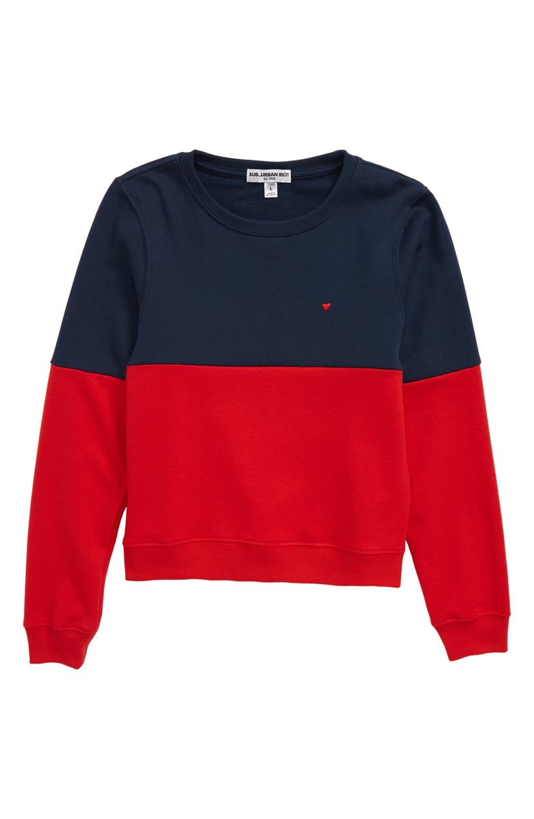 SUB_URBAN RIOT Embroidered Heart Sweatshirt, Main, color, NAVY/CHERRY