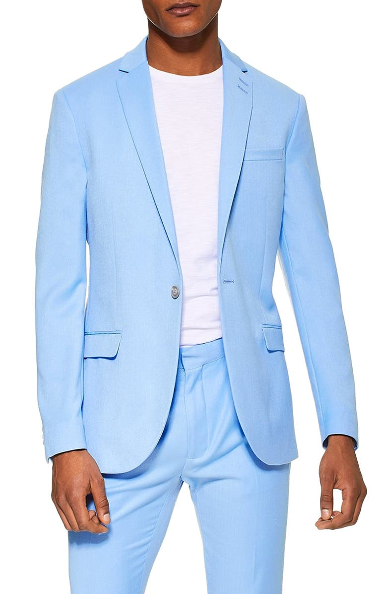 TOPMAN Skinny Fit Suit Jacket, Main, color, 400