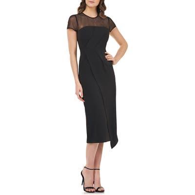 Js Collections Illusion Yoke Asymmetrical Cocktail Dress, Black
