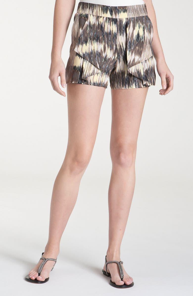 PARKER Origami Ruffle Print Silk Shorts, Main, color, 013