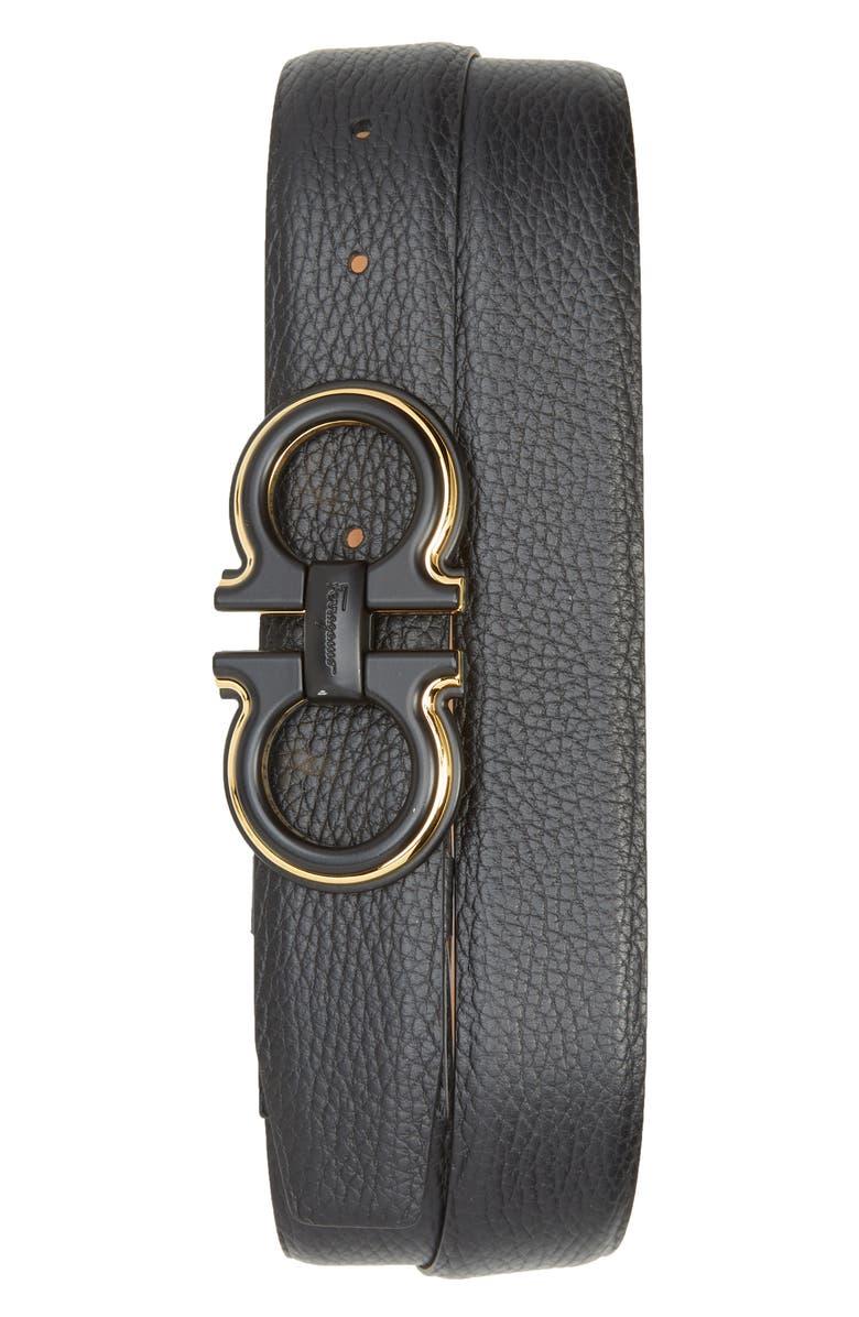 SALVATORE FERRAGAMO Pebbled Leather Belt, Main, color, 001