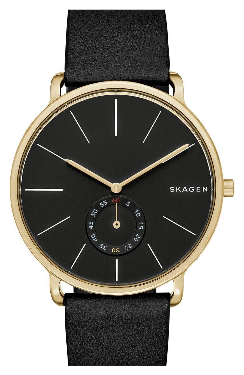 SKAGEN Hagen Leather Strap Watch, 40mm, Main, color, 001