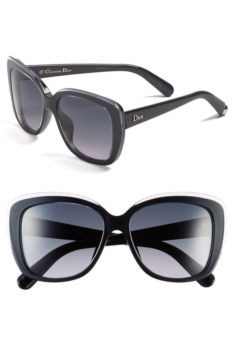 DIOR 'Promesse 2' 56mm Sunglasses, Main, color, 001