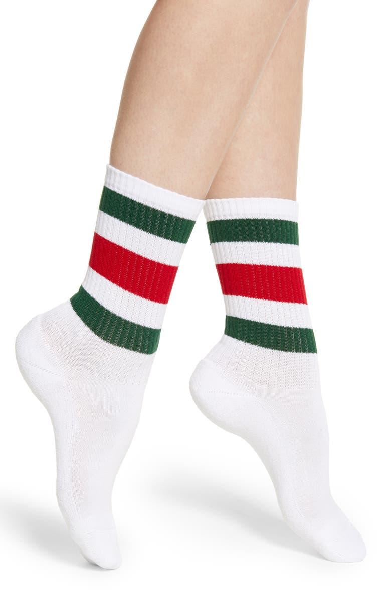 GUCCI Little William Socks, Main, color, WHITE/ DARK GREEN