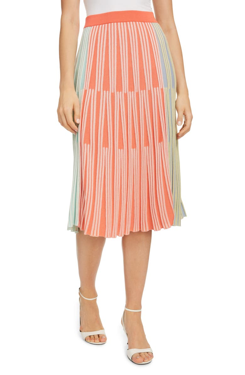 KENZO Colorblock Ribbed Midi Skirt, Main, color, 001