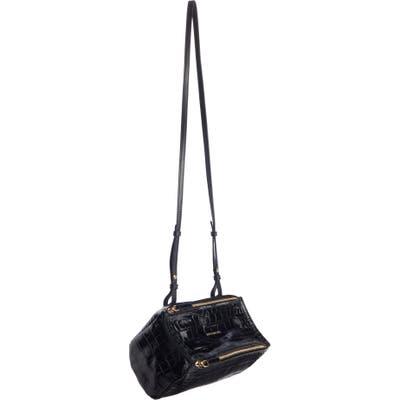 Givenchy Mini Pandora Croc Embossed Leather Shoulder Bag - Black