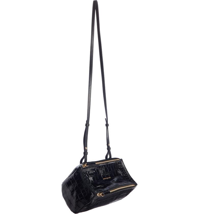 GIVENCHY Mini Pandora Croc Embossed Leather Shoulder Bag, Main, color, BLACK