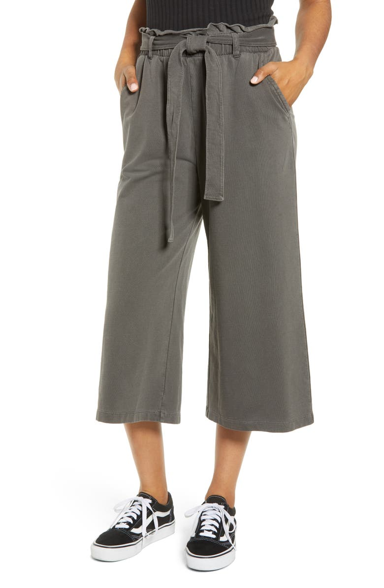 BP. Tie Waist Wide Leg Crop Pants, Main, color, 020