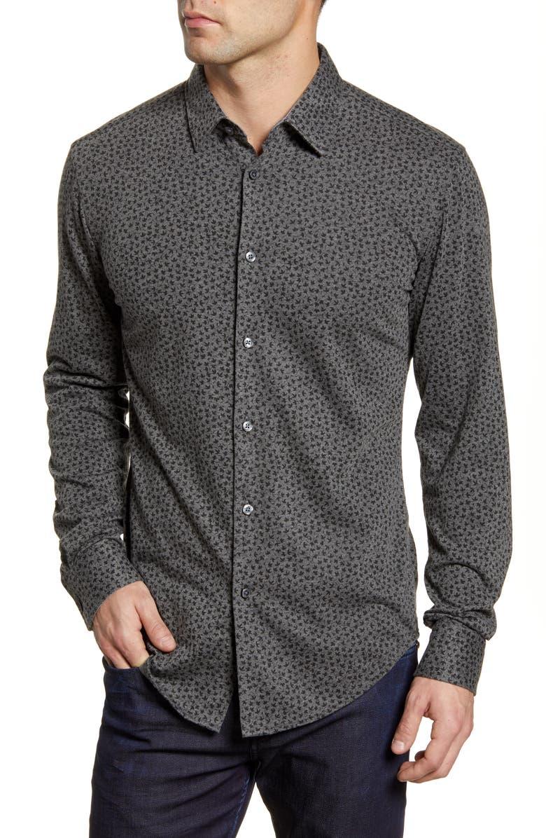 BOSS Ronni Slim Fit Leaf Print Button-Up Shirt, Main, color, MEDIUM GREY