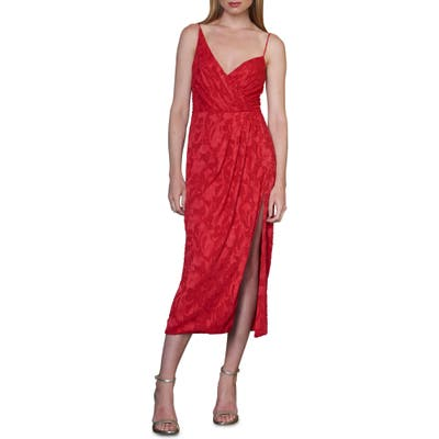 Ml Monique Lhuillier Asymmetrical Neck Dress, Red
