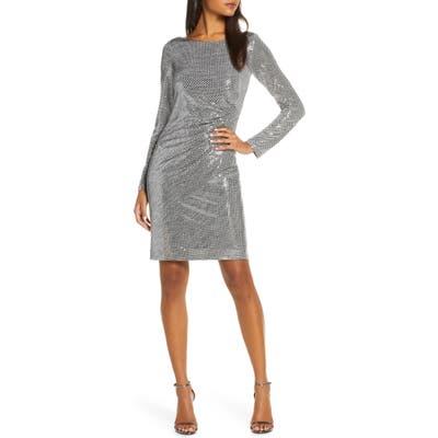 Vince Camuto Metallic Long Sleeve Dress, Metallic