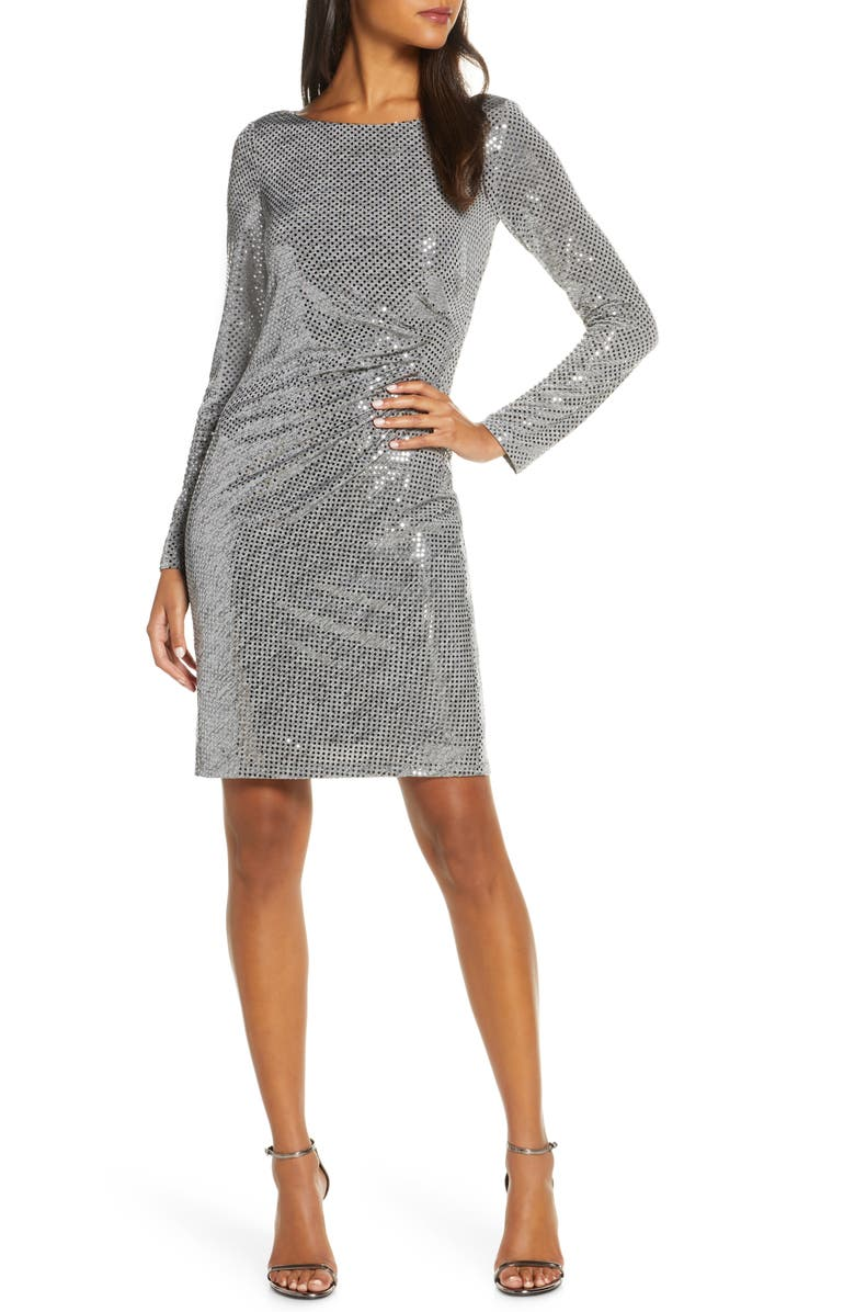 VINCE CAMUTO Metallic Long Sleeve Dress, Main, color, SILVER