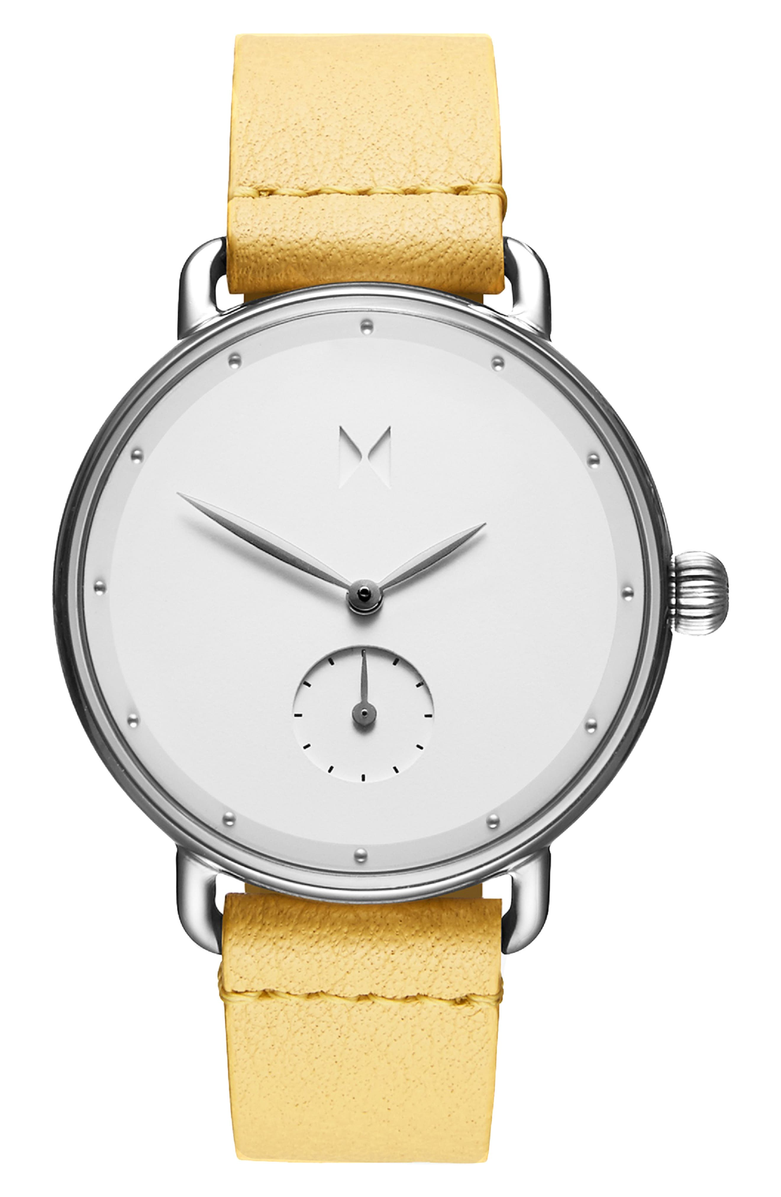 Bloom Leather Strap Watch, 36mm, Main, color, YELLOW/ WHITE/ SILVER