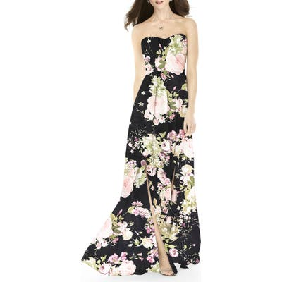After Six Strapless Front Slit Gown, Black