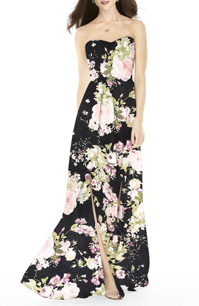 AFTER SIX Strapless Front Slit Gown, Main, color, NOIR GARDEN PRINT
