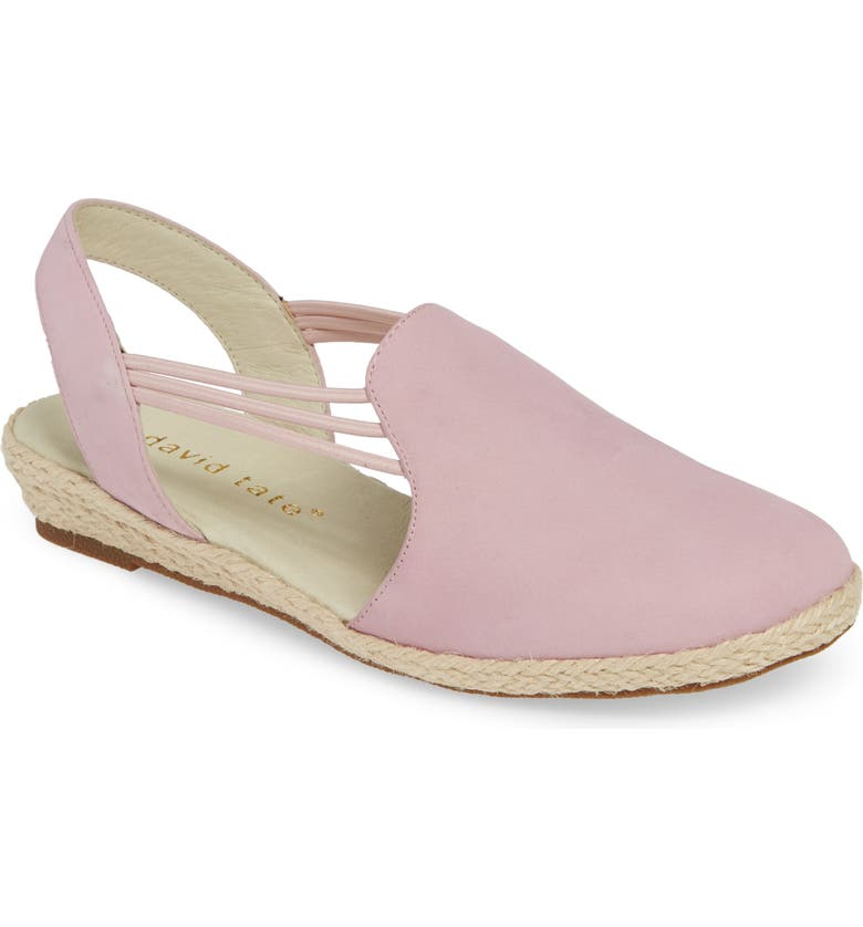 DAVID TATE 'Nelly' Slingback Wedge Sandal, Main, color, PINK NUBUCK LEATHER