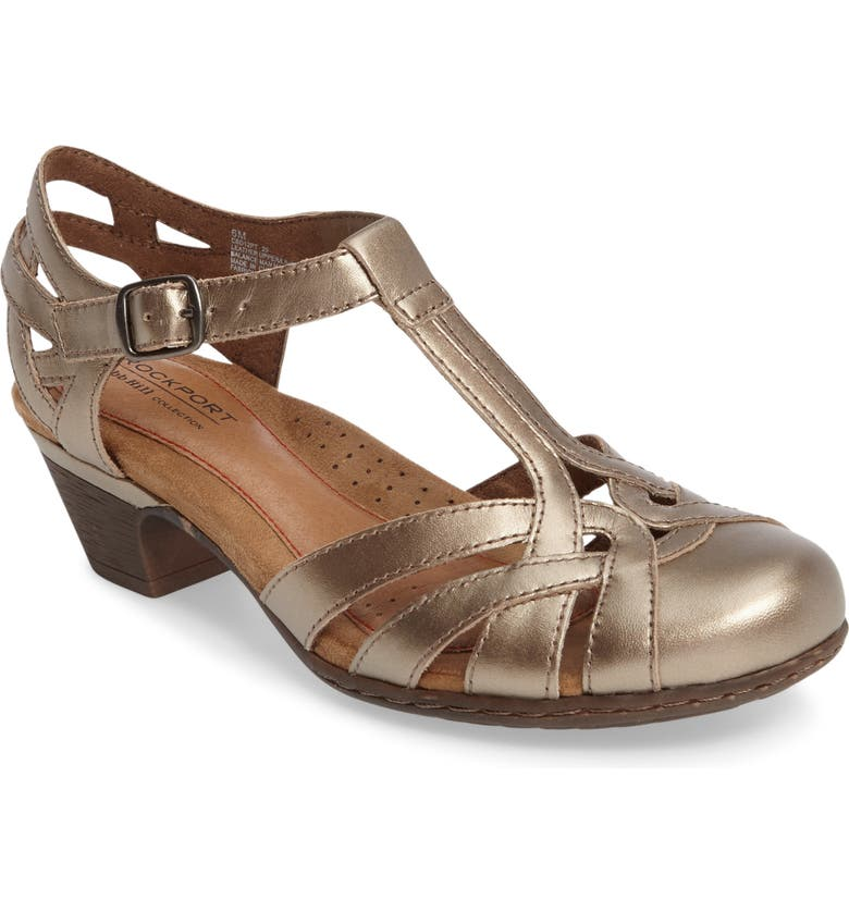 ROCKPORT Cobb Hill 'Aubrey' Sandal, Main, color, PEWTER LEATHER