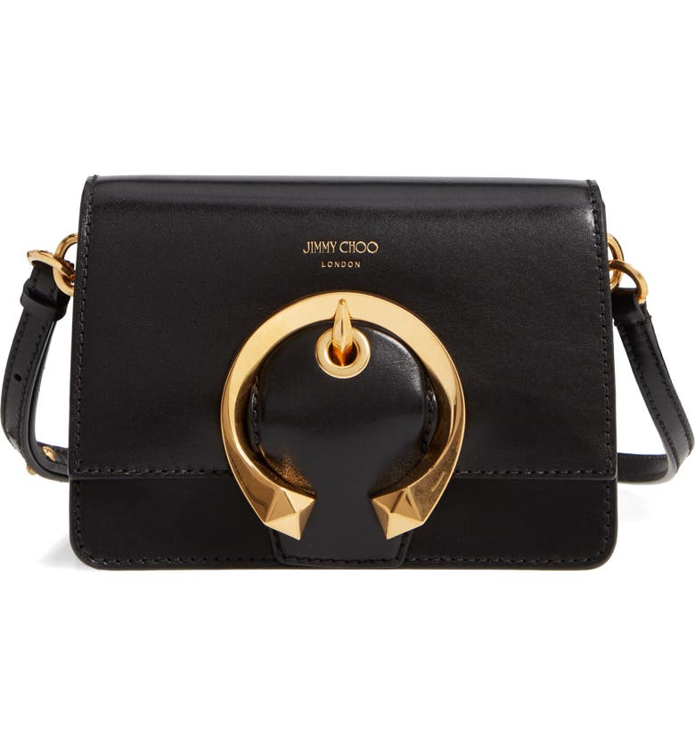 JIMMY CHOO Madeline Goatskin Leather Shoulder Bag, Main, color, BLACK