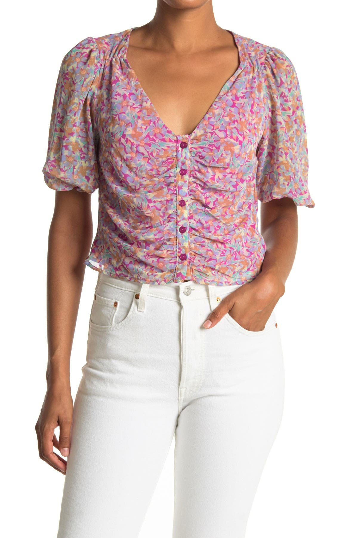 Image of Lush Printed Button Ruched Blouse