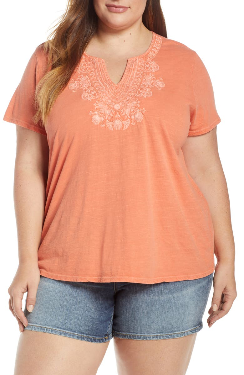 LUCKY BRAND Embroidered Notch Neck Tee, Main, color, 830