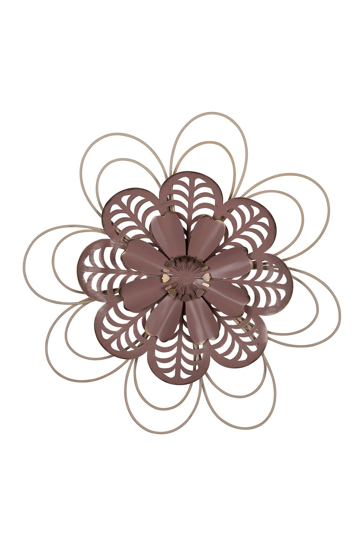 Image of Stratton Home Delicate Pink Metal & Wood Flower Wall Decor
