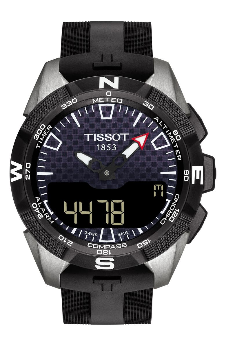 TISSOT T-Touch Expert Solar II Multifunction Rubber Strap Watch, 45mm, Main, color, BLACK/ SILVER
