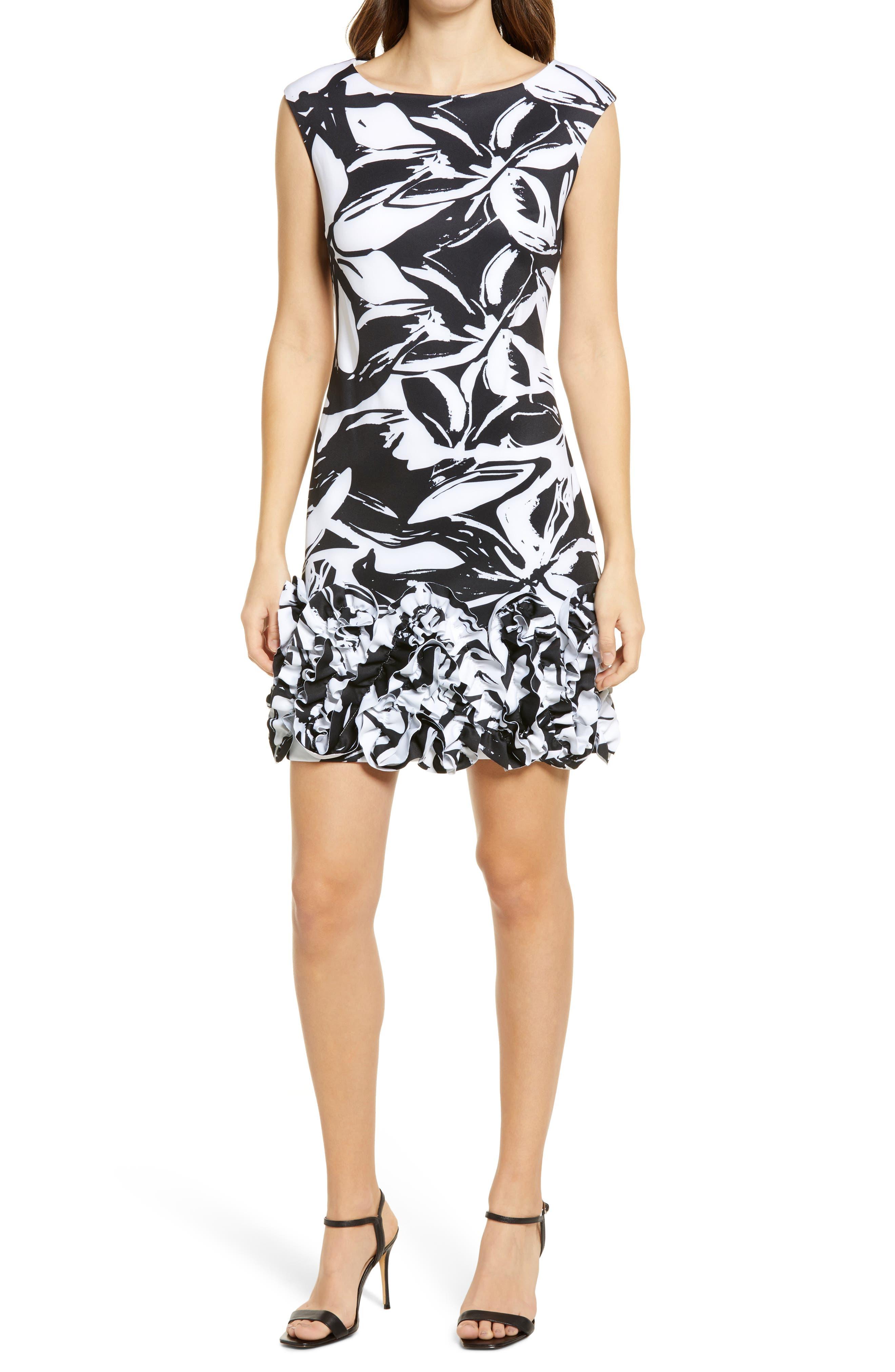 Abstract Floral Ruffle Hem Scuba Knit Sheath Dress