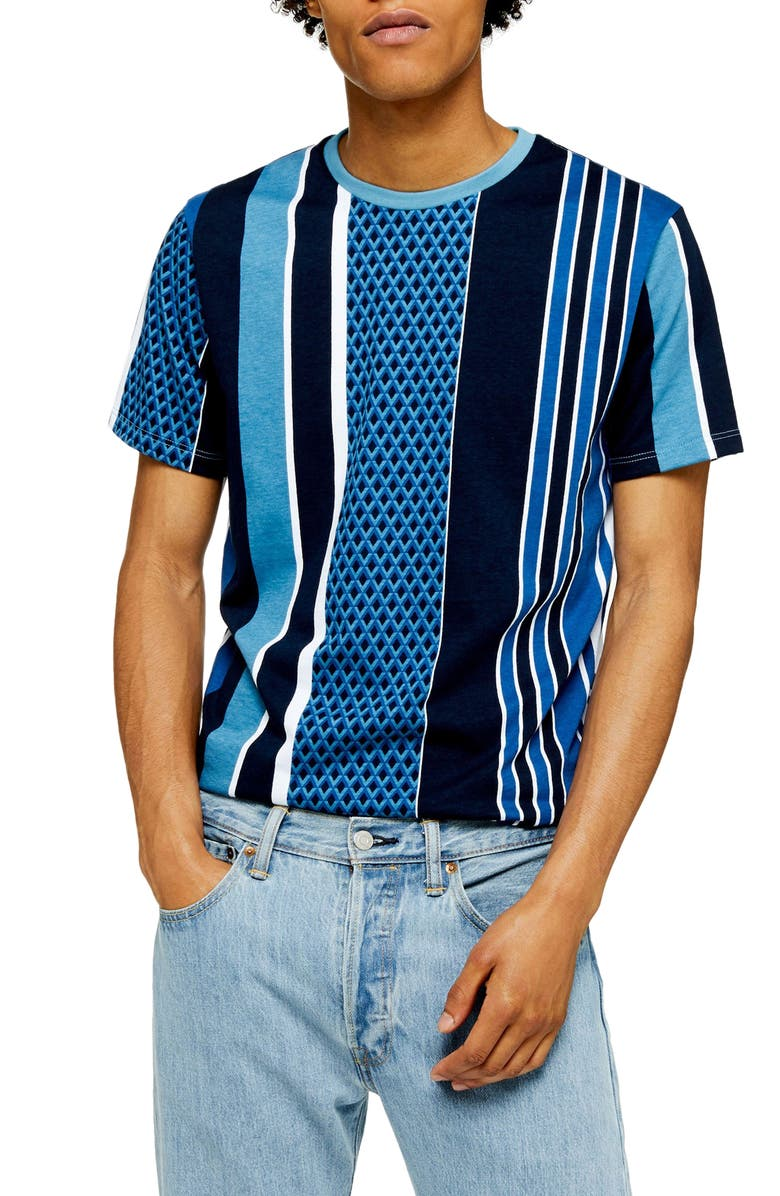 TOPMAN Stripe T-Shirt, Main, color, BLUE MULTI