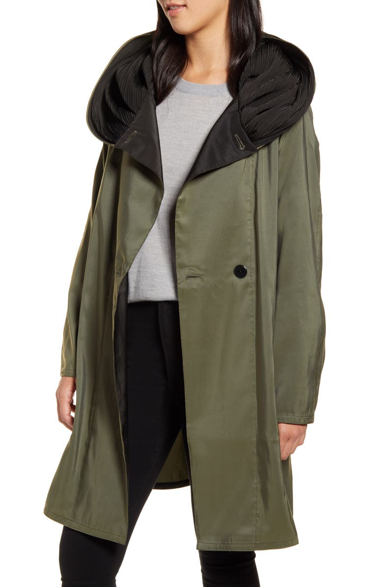 MYCRA PAC Reversible Pleat Hooded Raincoat, Main, color, ARMY