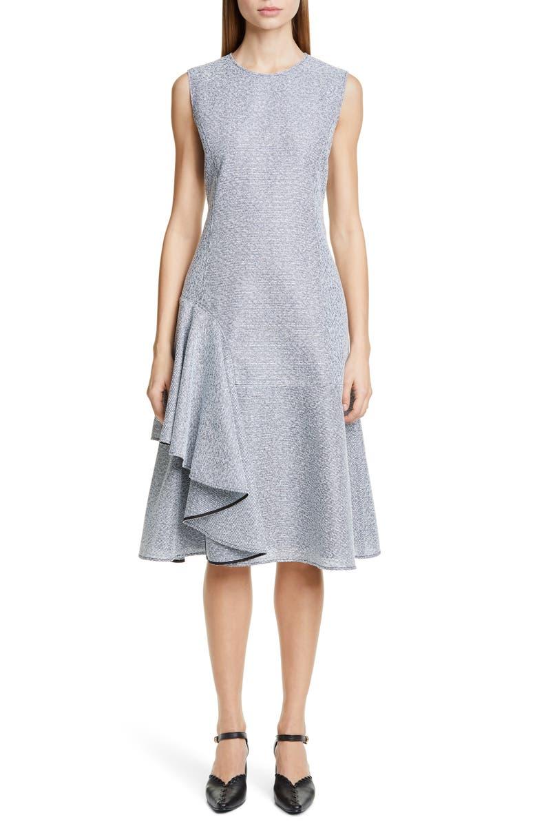 ADEAM Ruffle Hem Tweed Dress, Main, color, SLATE