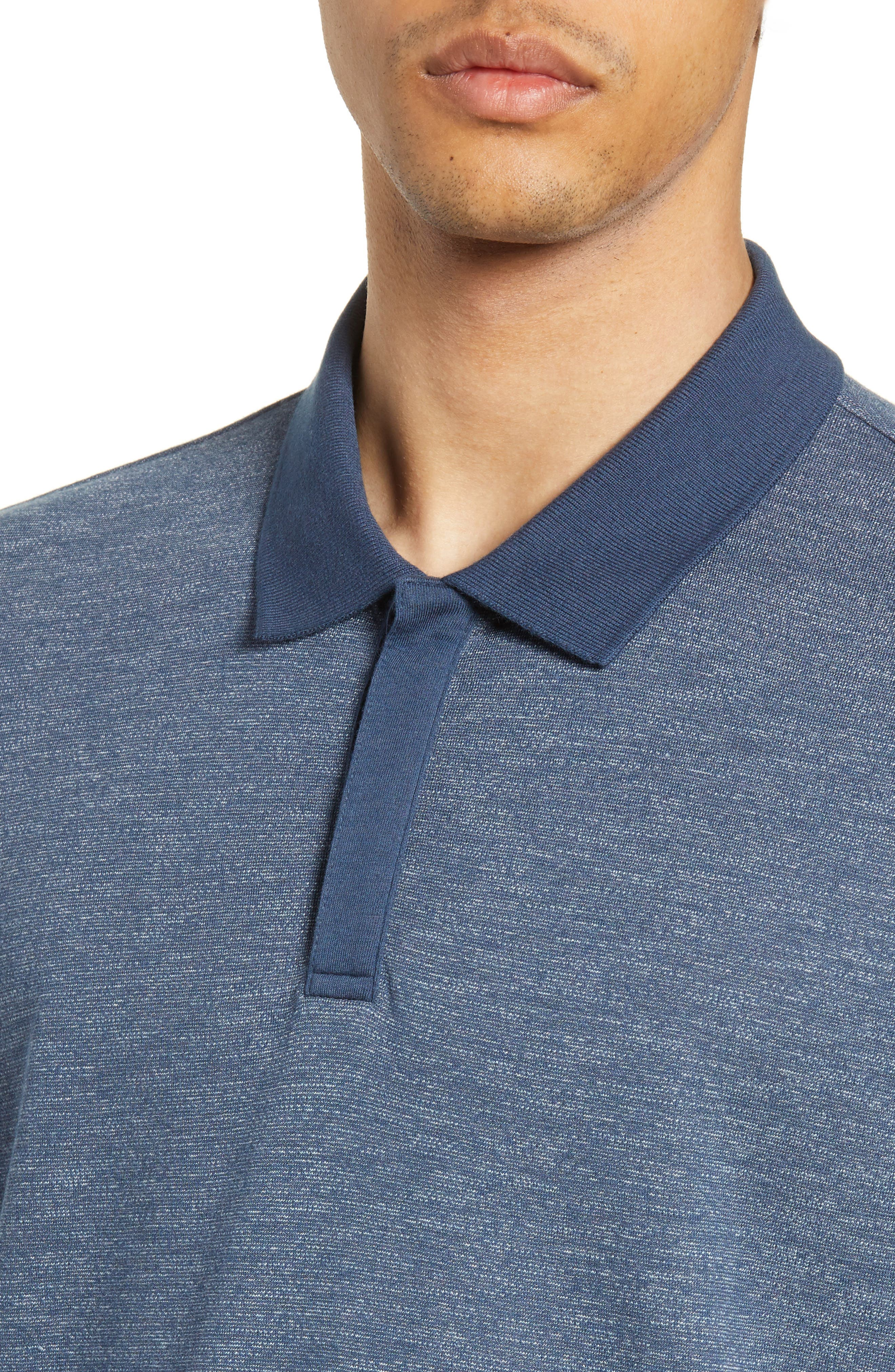 ,                             Mercerized Double Faced Jersey Polo,                             Alternate thumbnail 4, color,                             BLUE OASIS