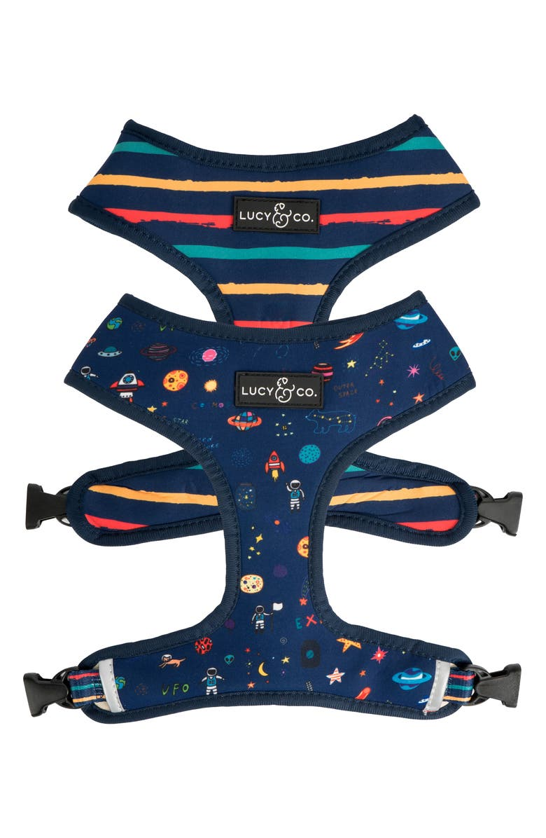 LUCY AND CO Lucy & Co. The Space Doodle Reversible Dog Harness, Main, color, SPACE DOODLE