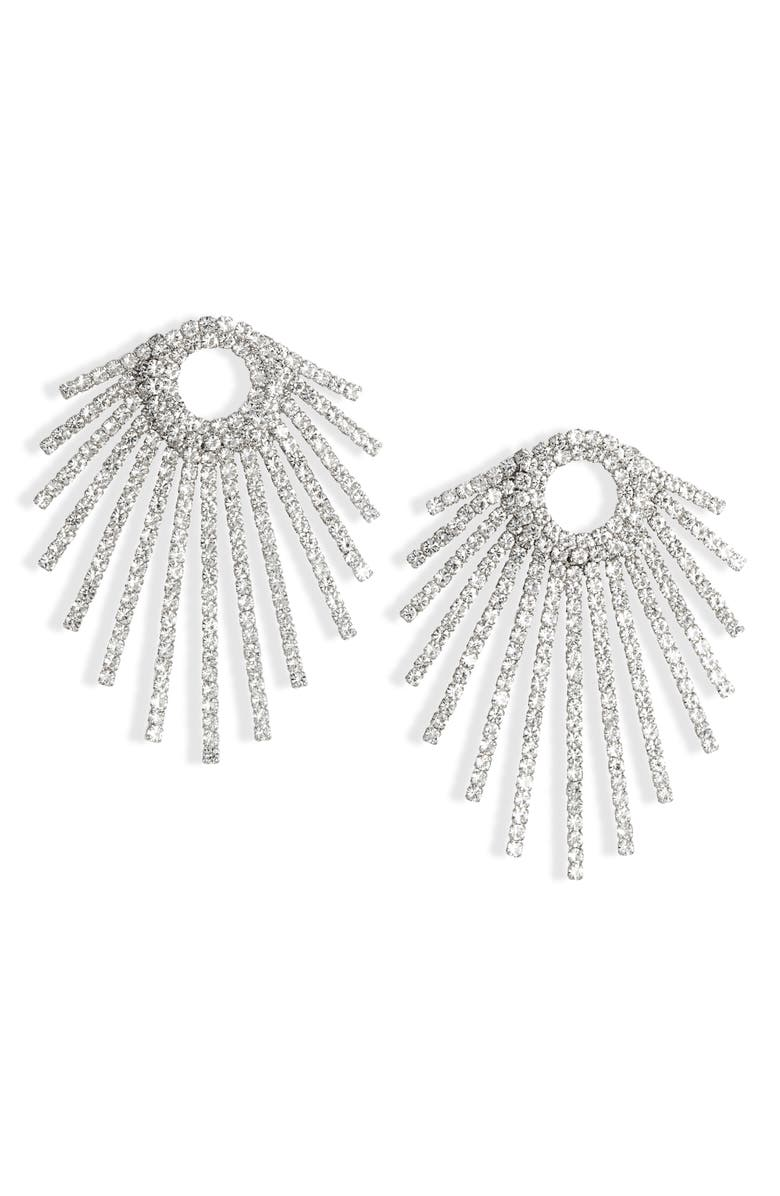 CRISTABELLE Crystal Ray Statement Earrings, Main, color, CRYSTAL/ SILVER