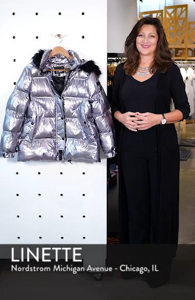 Faux Fur Trim Hooded Puffer Coat, sales video thumbnail