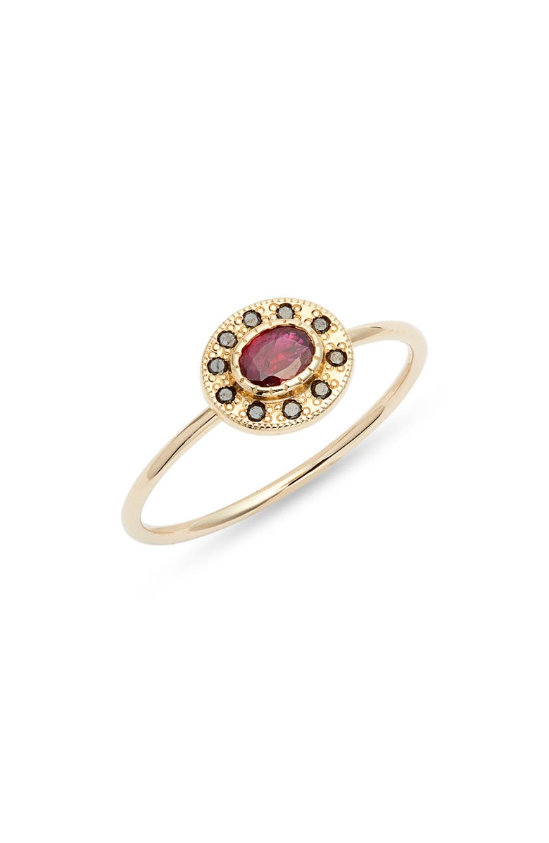JENNIE KWON DESIGNS Ruby Halo Ring, Main, color, 700