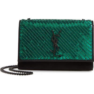 Saint Laurent Kate Sequin Crossbody Bag - Blue/green