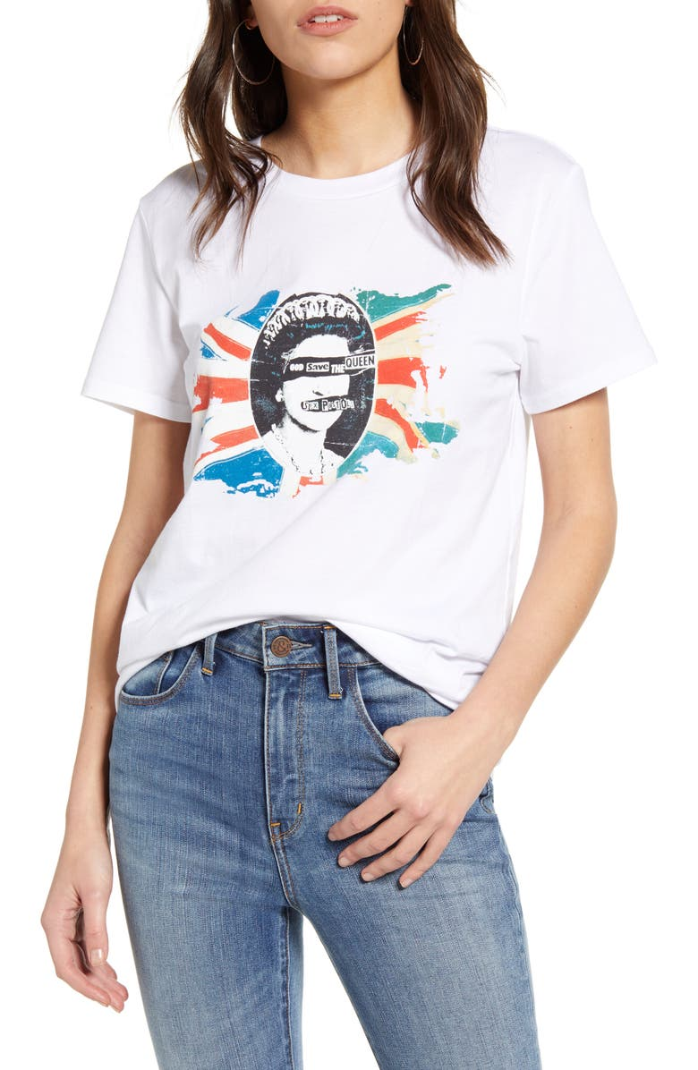 TREASURE & BOND Band Graphic Tee, Main, color, ROCK N ROLL- WHITE