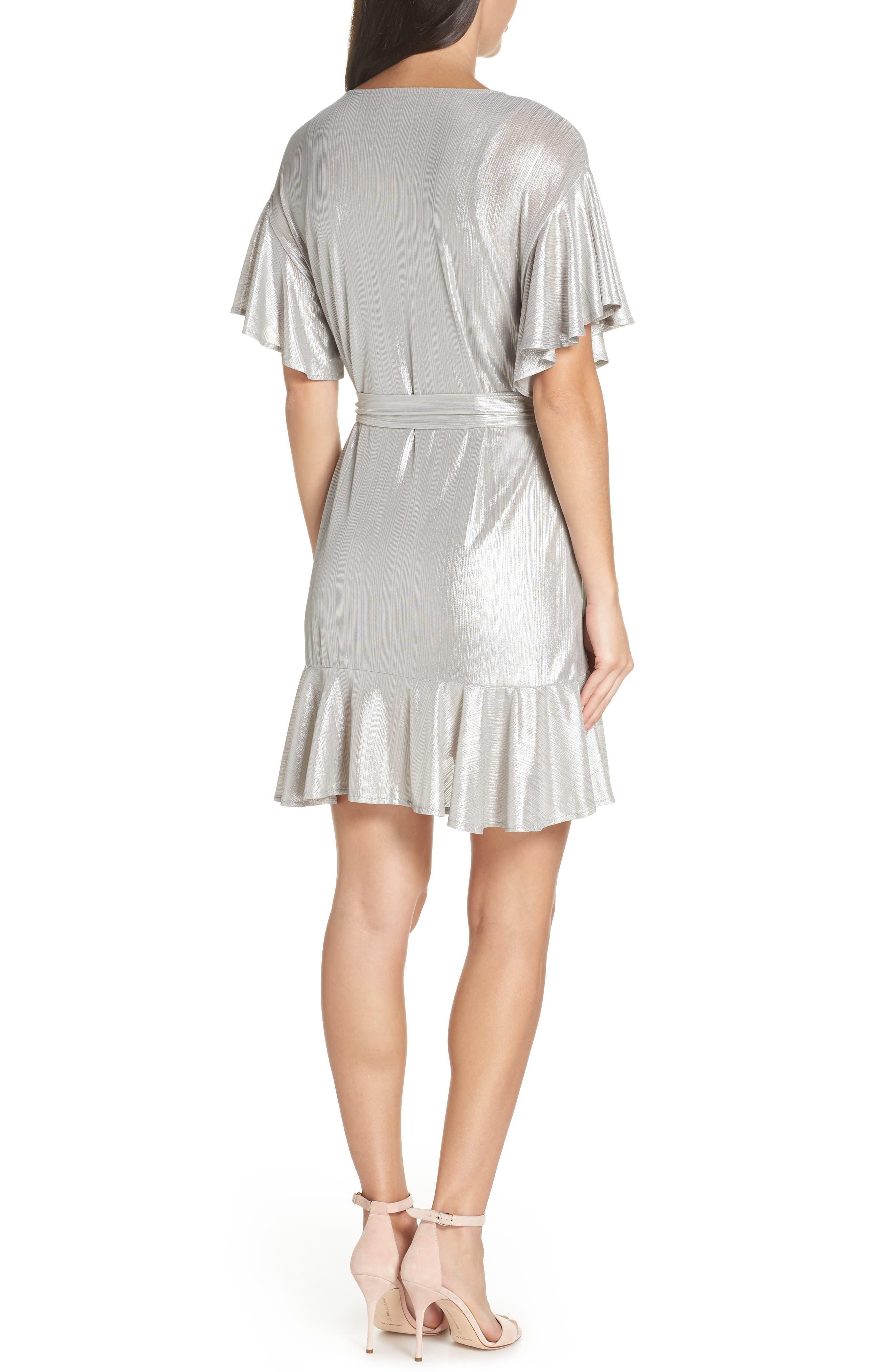 ,                             Metallic Ruffle Wrap Dress,                             Alternate thumbnail 2, color,                             SILVER