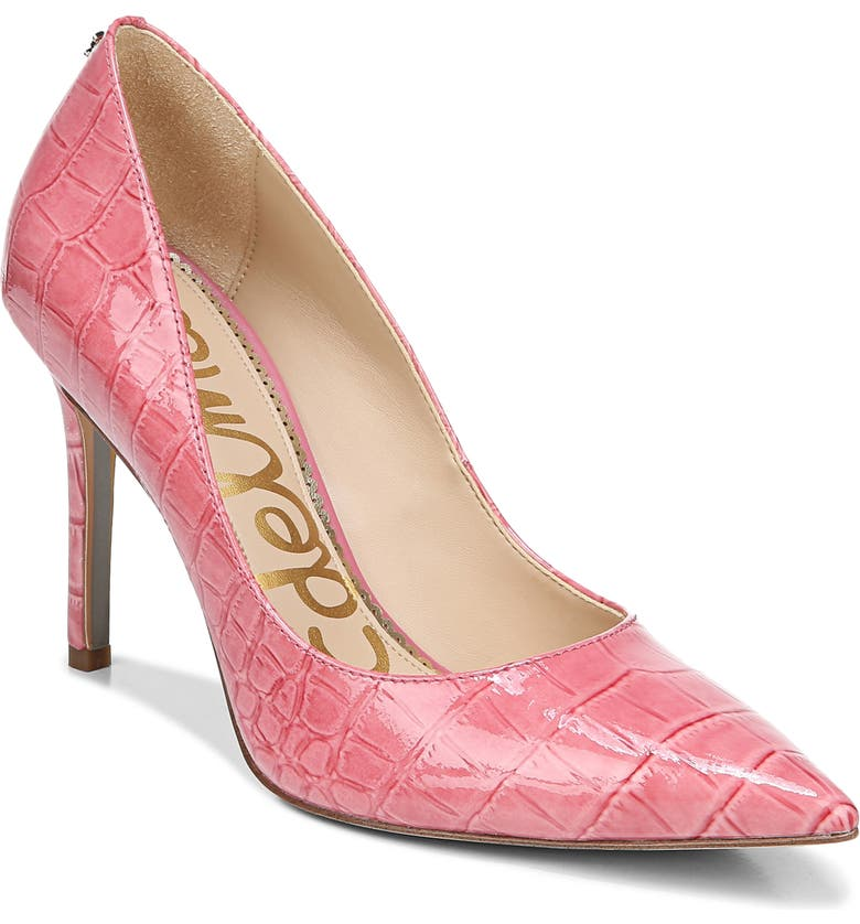 SAM EDELMAN Hazel Pointed Toe Pump, Main, color, RASPBERRY CROC PRINT