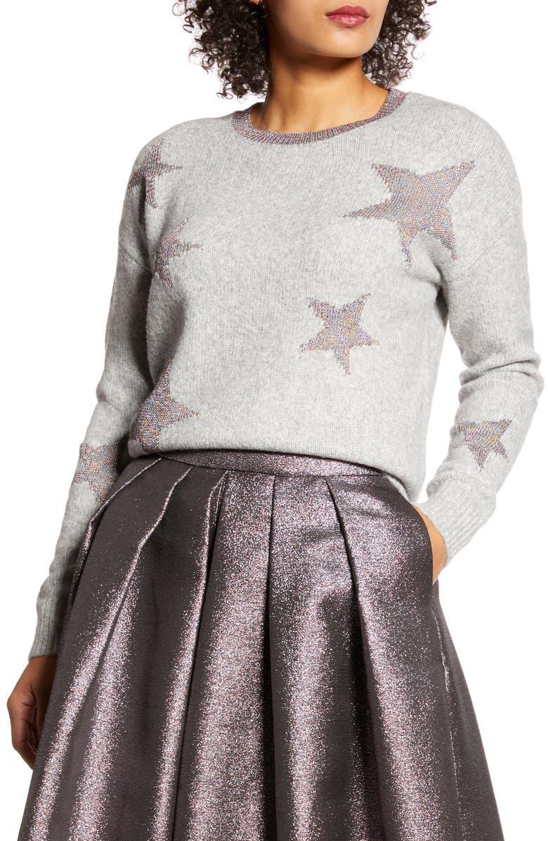 HALOGEN<SUP>®</SUP> x Atlantic-Pacific Star Sweater, Main, color, GREY HTR LUREX STAR PRINT