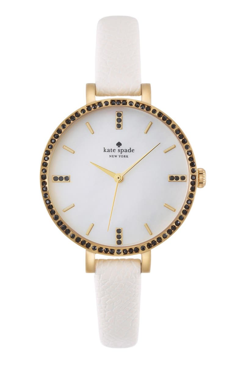 KATE SPADE NEW YORK 'metro' crystal bezel leather strap watch, 34mm, Main, color, 100
